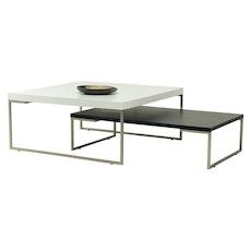 Myron Rectangular Coffee Table - White, Matt Silver - Image 2