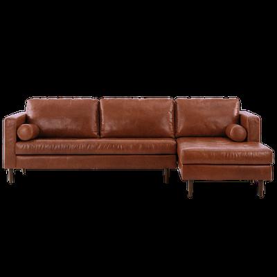 Nolan L Shaped Sofa - Cigar (Premium Leather) - Image 1