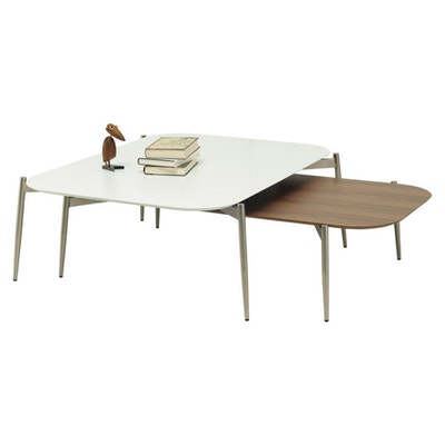 Nova Low Coffee Table - Walnut, Matt Silver - Image 2