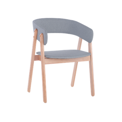 Venice Dining Chair with Cushioned Backrest - Oak, Light Grey (Set of 2) - Image 1
