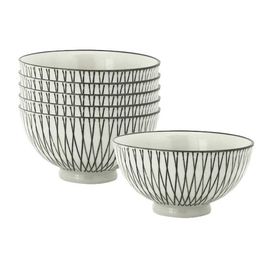 Helga - Khus Small Rice Bowl - White, Crossed (Set of 6)
