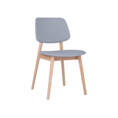 Riley Dining Chair with Cushioned Backrest - Oak, Light Grey (Set of 2) - Image 1