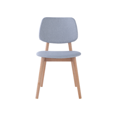 Riley Dining Chair with Cushioned Backrest - Oak, Light Grey (Set of 2) - Image 2