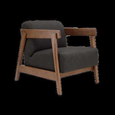 Daewood Lounge Chair - Cocoa, Dark Grey - Image 1