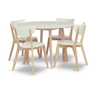Harold Round Dining Table 1m - Natural, White - Image 2