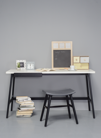 Morey Working Desk - Black, White, Black Ash - Image 2